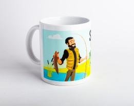 Чашка с рыбаком