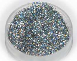 """Sequins """"silver"""" holo heat-resistant, 0.4 mm"""